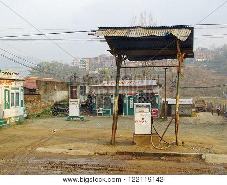 KATHMANDU, NEPAL -MARCH 24 : Filling station in Kathmandu, Nepal on March 24, 2014