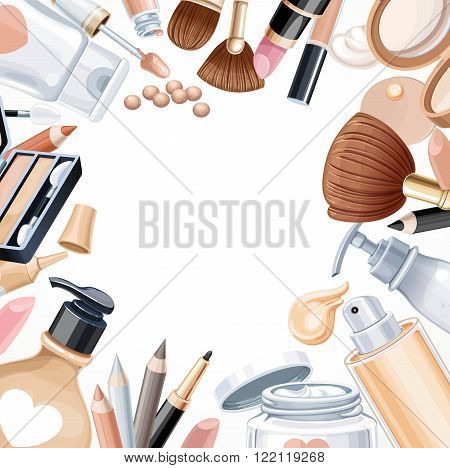 White Background With Cosmetic Objects For Makeup