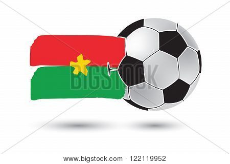Soccer Ball And Burkina Faso Flag With Colored Hand Drawn Lines