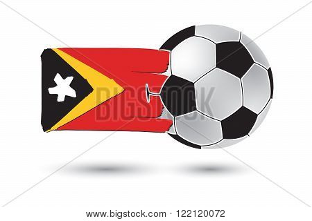 Soccer Ball And East Timor Flag With Colored Hand Drawn Lines