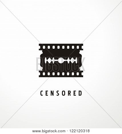Creative symbol concept for movie censure. Razor shape with film strip details. Logo design idea for censor. Vector illustration.