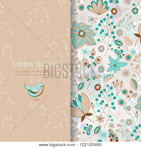 Vector card with floral pattern. Cute floral background in brown and blue. Romantic card. Place for your text. Perfect for greetings, invitations or announcements.
