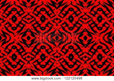 Rough red and black tribal shapes pattern