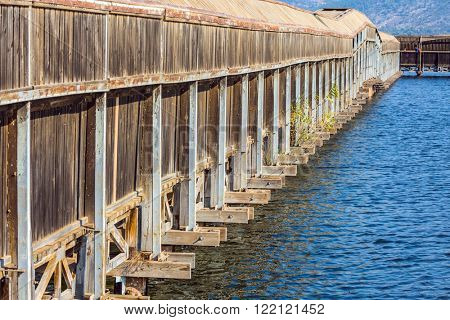 Wooden gallery for bird watching. Hula Nature Reserve, Israel, December. Lake Hula is a wintering place for migratory birds