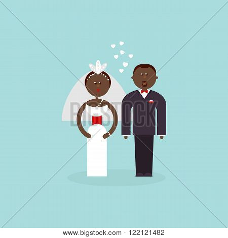 African American couple getting married. Bride and Groom flat vector figures illustration. Classic wedding flat. Traditional bride groom cartoon. Wedding couple for invites, cakes.