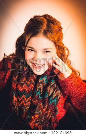 Cute fun and stylish caucasian tween girl laughig