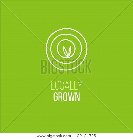 Hand sketch Locally grown logo for eco friendly farm product. Food targeting or special market icon. Vegetarian and healthy diet. Farm fresh organic food logo. Natural quality tag for form packaging.