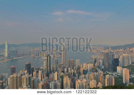 the Victoria Harbour Hong Kong shot from the Peak.