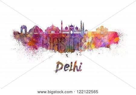 Delhi skyline in watercolor splatters with clipping path