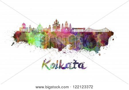 Kolkata skyline in watercolor splatters with clipping path