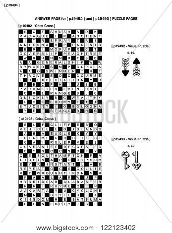 Answer page to previous two puzzle pages (p19492 and p19493) with criss-cross and visual puzzles
