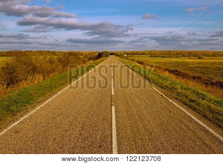 Long straight road on the country side