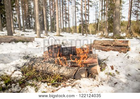 Cooking in a winter hike in the cauldron hanging over the fire in the snow-covered pine forest while camping on a sunny day from the boiler coming vapor