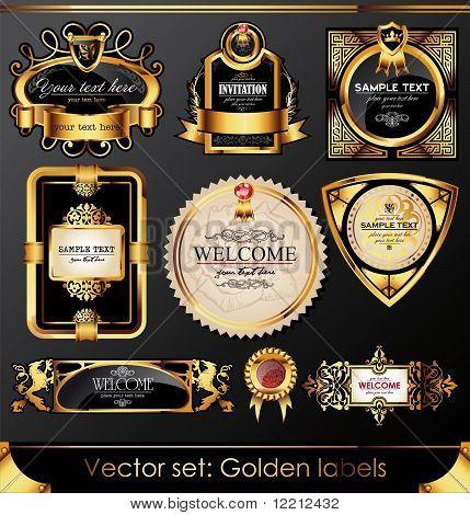 Vector Set: Beautiful Golden Labels