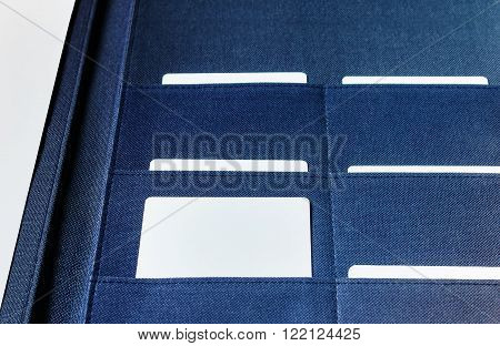 Blank Business Card In File Folder Selected