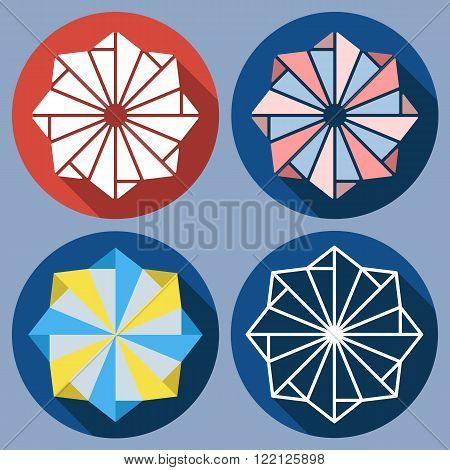 Set of abstract octagonal shuriken. Vector flat design. Isolated icons on colorful backdrop. Windmill toy.