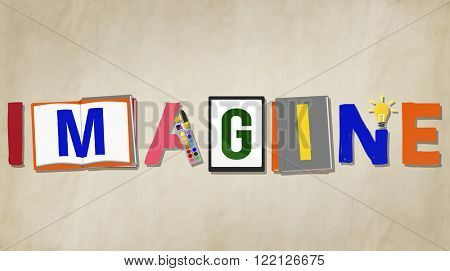 Imagination Creative Word Design Colorful Concept