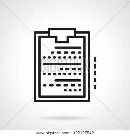 Medical clipboard black line vector icon