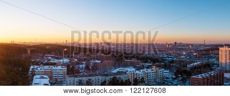 sunset on outskirts of large metropolitan Russia Ekaterinburg