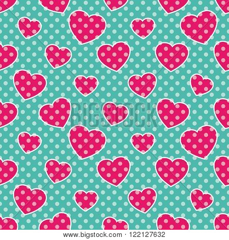 Pop-Art Hearts, Seamless colorful pattern with pink hearts on blue background, vector illustration, polka-dot