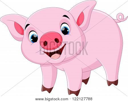 Vector illustration of cute pig cartoon isolated on white backround