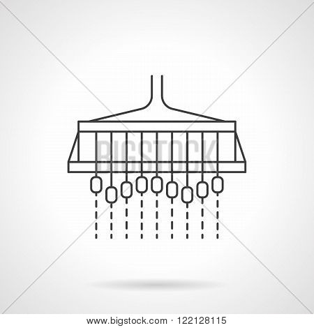 Sowing machine flat thin line vector icon