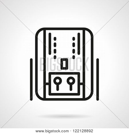 Home heating system black line vector icon