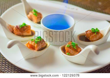 Flambed Salmon Sushi