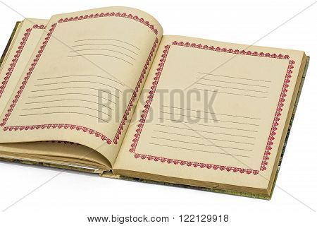 Open old notebook isolated on white background