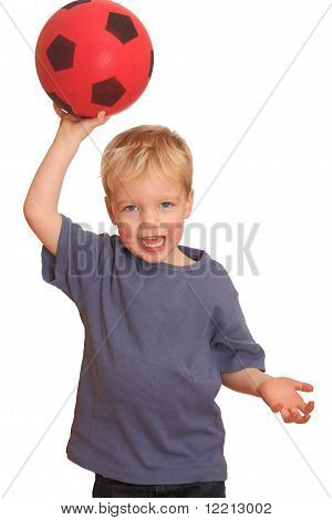 Boy Throwing A Red Ball
