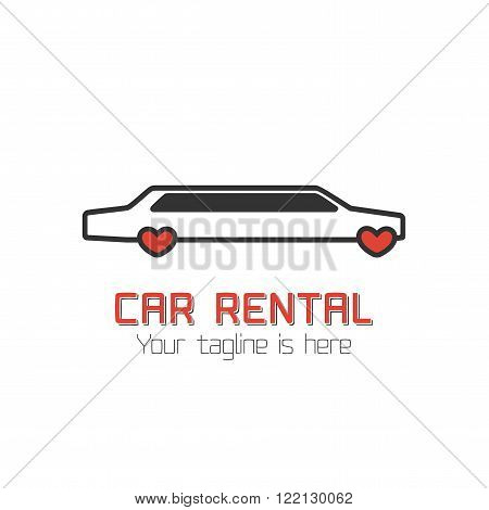 Car rental vector template label. Limo for wedding rental. Vector automotive design element