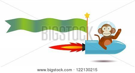 monkey spaceman on the rocker spaceship with flag for greeting inscriptions, captions, headings, headlines, etc