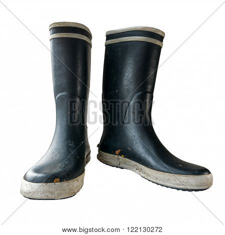 Isolated Black And White Rubber Or Wellington Boots On A White Background
