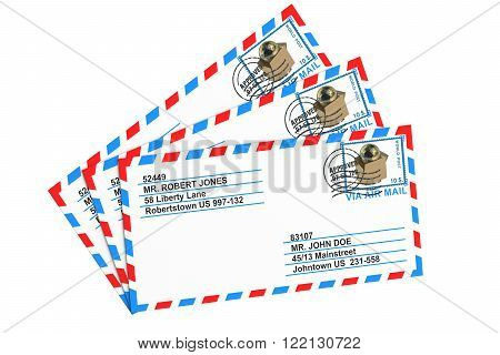 set of paper airmail letters isolated on white background