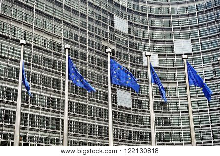 European Union flags in front of the Berlaymont building (European commission) in Brussels Belgium.