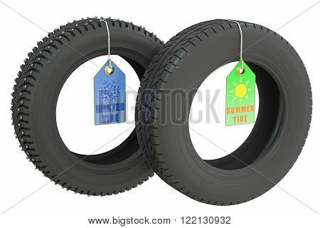 winter and summer tires isolated on white background