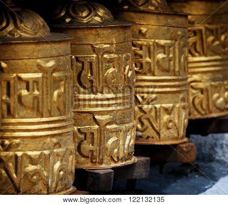 Prayer Wheels In  Himalayas, Khumbu District,  Nepal