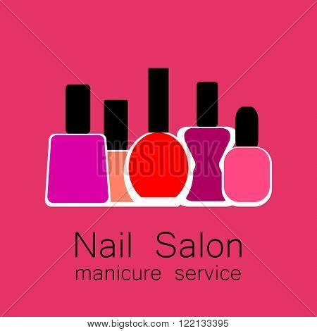 Nail Salon logo.  Vector nail polish logo. Symbol of manicure. Design sign - nail care. Beauty industry, nail salon, manicure service, spa boutique, cosmetic products. Vector illustration.