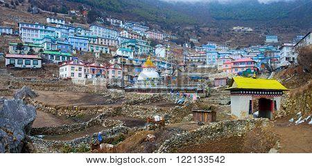 Buddhist Stupa In Namche Bazar, Everest Region, Nepal