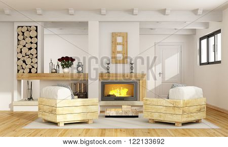 Rustic room with fireplace and two pallet armchair - 3D Rendering