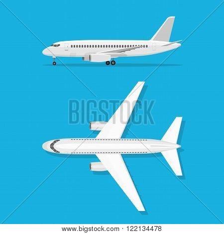 White airplane on isolated background. Aircraft is on the ground. Airliner. View from above and side. The objects for brochure