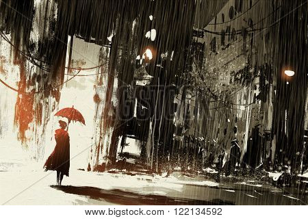lonely woman with umbrella in abandoned citydigital painting