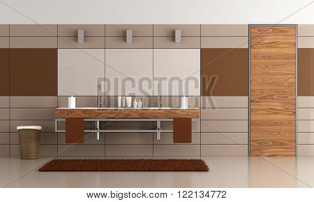 Contemporary  brown bathroom with two washbasin and wooden door - 3D Rendering