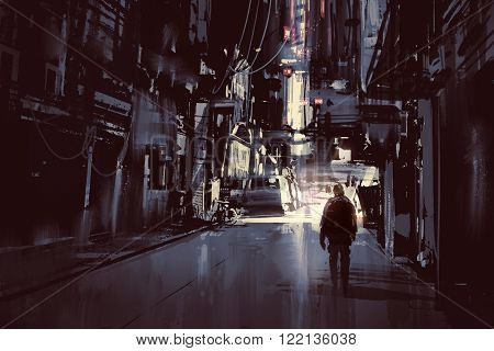man walking alone in dark city, illustration painting