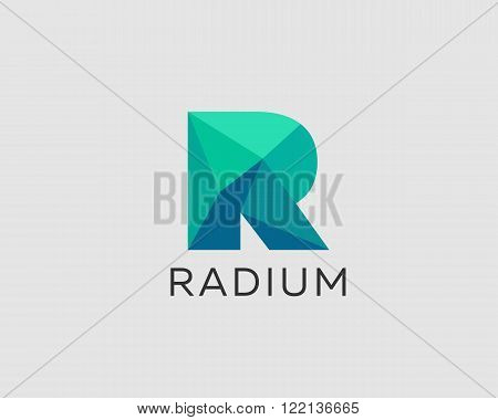 Abstract trend polygon letter R logo design template. Art tech media app creative sign. Colorful symbol icon. Bright alphabet font