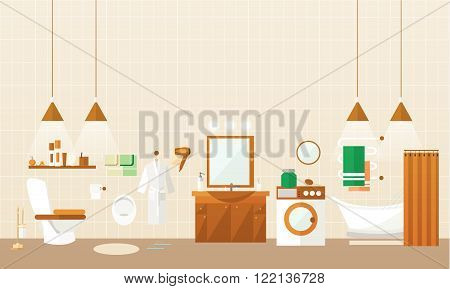 Bathroom interior with furniture. Vector illustration in flat style. Design elements, bathtub, washing machine, shower cubicle, mirror, shelves, towel, toilet.