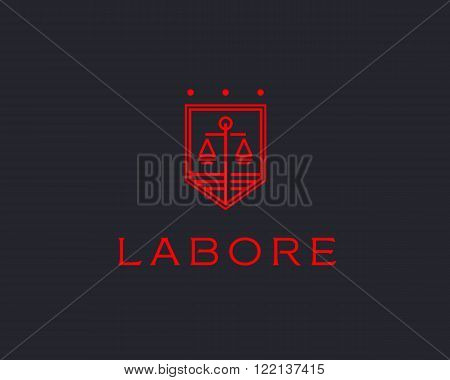 Law firm line trend logo icon vector design. Universal legal, lawyer, scales creative premium symbol