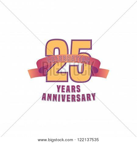 Vector design for twenty five years anniversary celebration