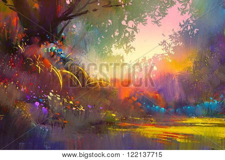 colorful landscape digital painting ,beautiful scenery illustration
