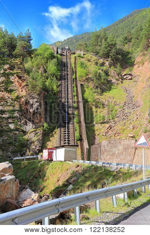 Photo of funicular in Caucasus mountains Russia